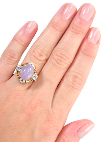 Lavender Jade Diamond Estate Ring