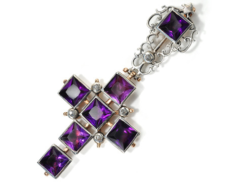 Georgian Royal Amethyst Cross Pendant