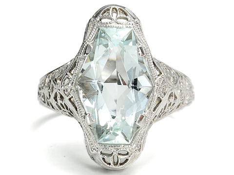 Fancy  Art Deco Aquamarine Ring