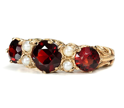 Garnets & Pearls in a Stately Golden Ring