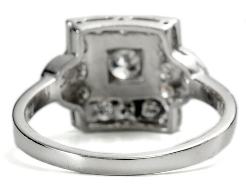 Mid 20th C. Square in a Diamond Platinum Ring