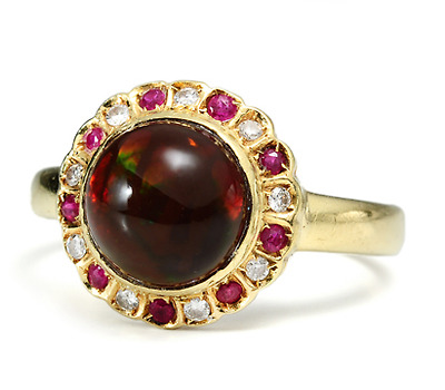 Divine Chocolate Opal Ruby Diamond Ring