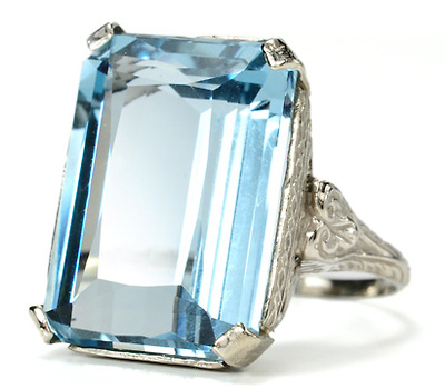 Mid 20th C. Form in an Aquamarine Ring
