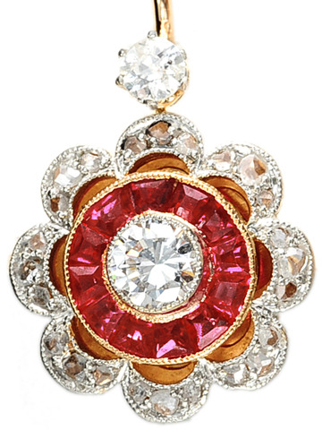 Divine Ruby Diamond Earrings
