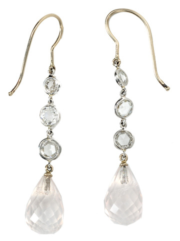 Cascade of Light: Rose Quartz & Diamond Earrings