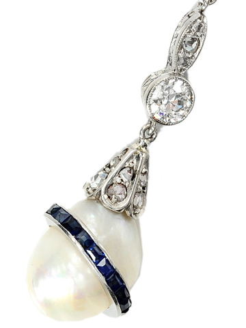 Antique Natural Pearl Sapphire & Diamond Necklace