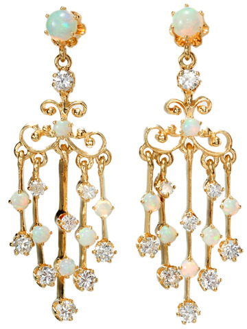 Spectacular Opal & Diamond Earrings
