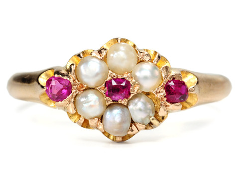 Edwardian Glow: Pearl & Ruby Cluster Ring