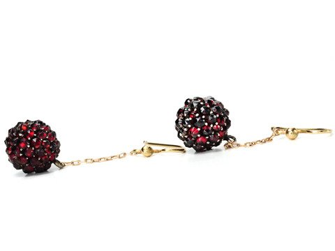 Antique Bohemian Garnet Drop Earrings