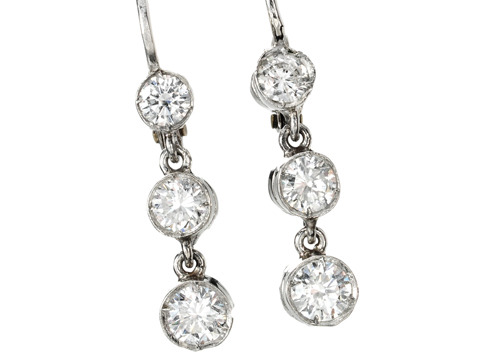 Three's A Charm: Diamond Drop Earrings