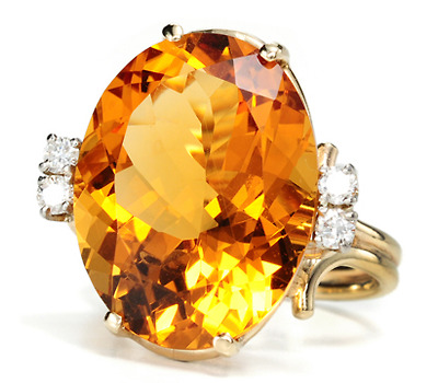 20th C. Gold in a Citrine & Diamond Ring