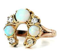 Emblematic Antique Victorian Opal & Diamond Ring