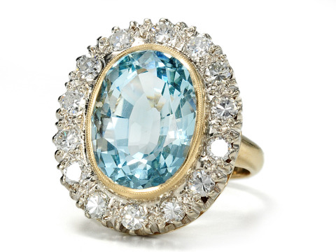Sky & Clouds: Aquamarine Diamond Estate Ring