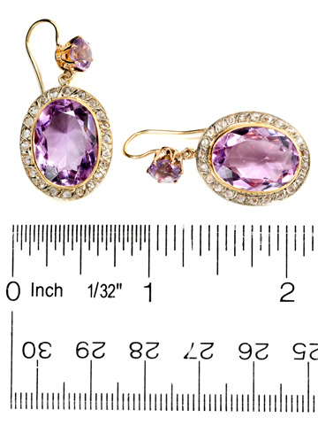 Classic Amethyst & Diamond Cluster Earrings