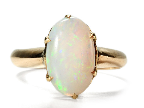 Edwardian Duel of Fire in an Opal Ring