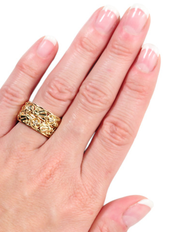 Retro Magic in a Wide Tri-Color Gold Eternity Band