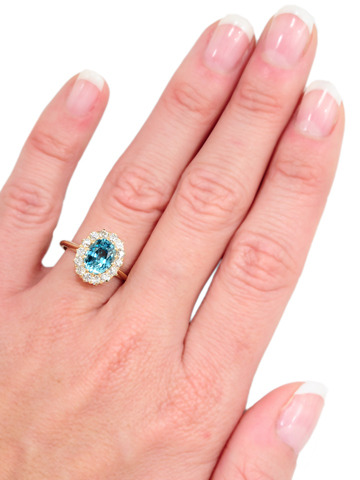 Antique Caribbean Blue Zircon Diamond Ring