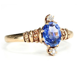 Antique Sapphire Diamond Beauty in a 19th C. Ring