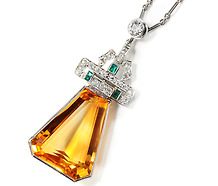 Diamond Emerald  & Citrine Pendant Necklace