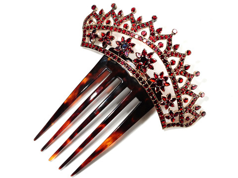 Crowned with a Victorian Garnet Hair Comb