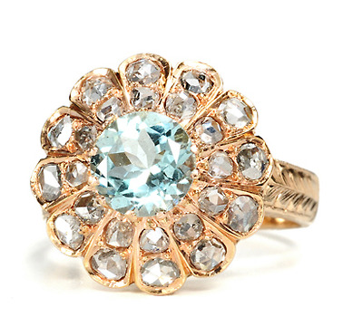 Floral Aquamarine & Diamond Estate Ring