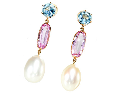 Articulated Aquamarine Topaz & Pearl Earrings