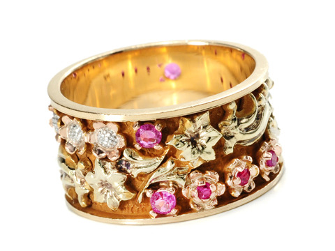 Vintage Floral Ruby Eternity Wedding Band