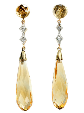 Gentle Breeze: Citrine & Diamond Pendant Earrings