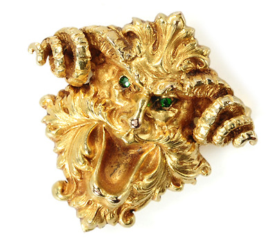 Green Garnets & Gargoyles in an Edwardian Brooch