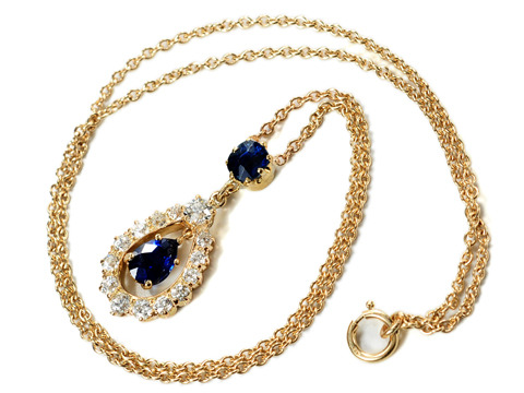 Antique Diamond Sapphire Necklace