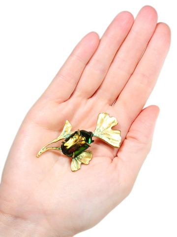 Early 20th C. Ginkgo Leaf & Beetle Brooch