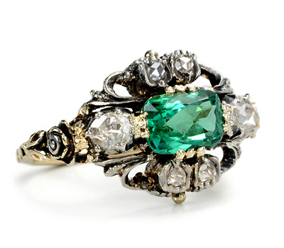 Enchanting Edwardian Antique Diamond & Tourmaline Ring