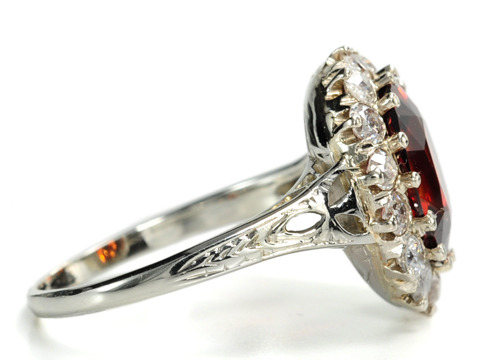 Vintage Spessartite Garnet Diamond Ring