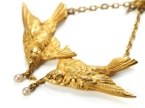 Three Swallows in an Antique French Pendant