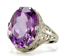 American Art Deco Amethyst Filigree Ring