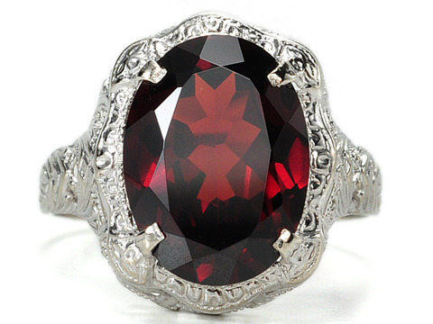 Impressive Pyrope Garnet in a Filigree Ring