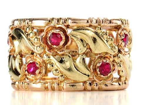 Vintage Garden of  Gold Eternity Band