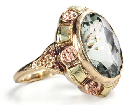 Art Deco Charm in a Green-Hued Amethyst Ring