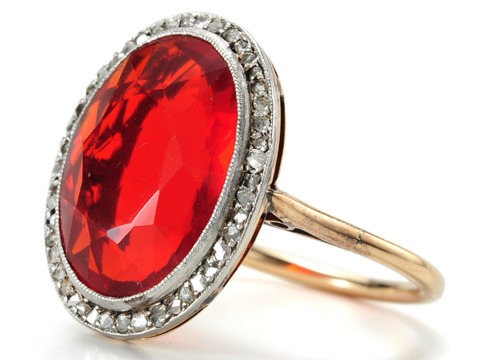 1920s Setting Sun: Diamond & Fire Opal Ring