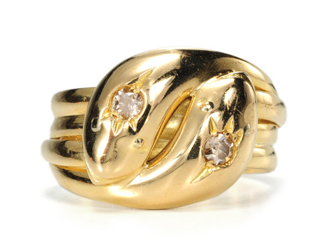 Early 20th C. Vintage Double Snake Ring
