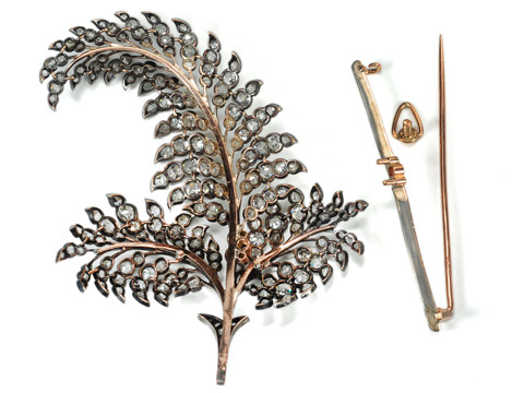 Victorian Tickle: Diamond Feather Pendant Brooch