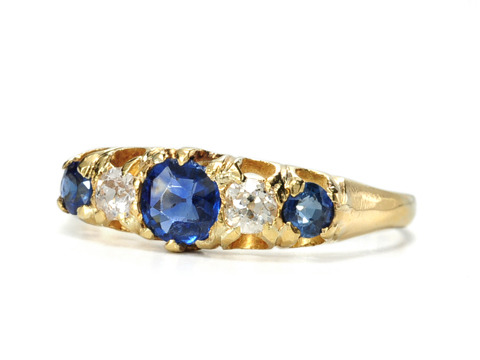 Edwardian Symphony in a Diamond Sapphire Ring