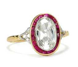 Art Deco 1.63 c Diamond Ruby Ring