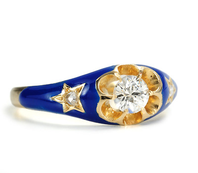 Antique Vibrant Blue Enamel Diamond Ring
