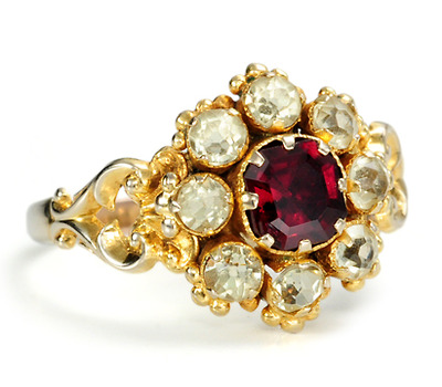 Antique Garnet & Chrysoberyl Ring