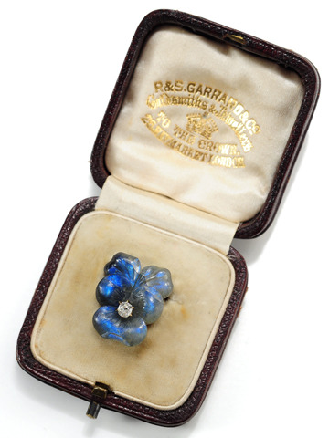 Garrard Antique Labradorite Brooch in Box