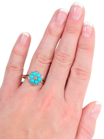 Georgian Flowers in a Turquoise Diamond Ring