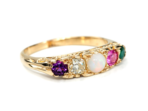 Edwardian ADORE Gem Set Acrostic Ring