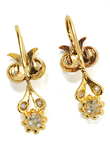 Victorian Diamond Enamel Earrings