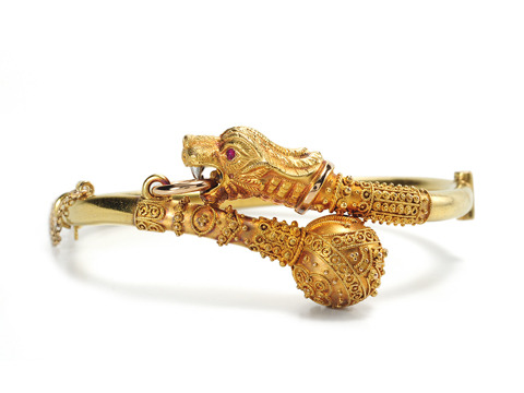 With a Roar: Edwardian Lion Bangle Bracelet